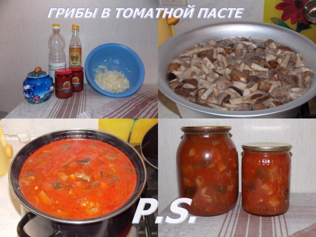 маринованные подосиновики с томатной пастой