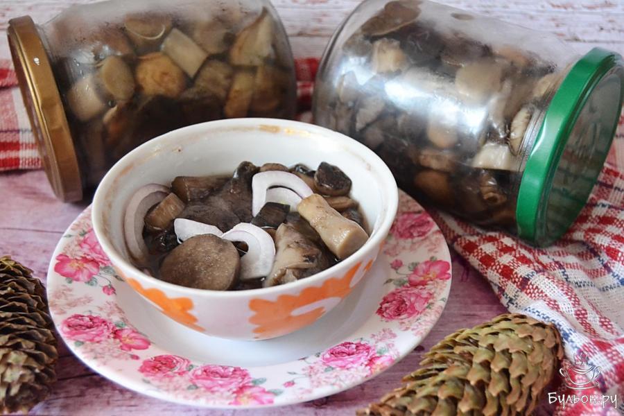 маринованные подосиновики с листьями дуба, вишни и смородины
