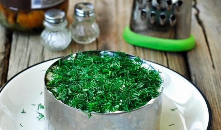 классический рецепт с фото: салат грибное лукошко с опятами фото 8