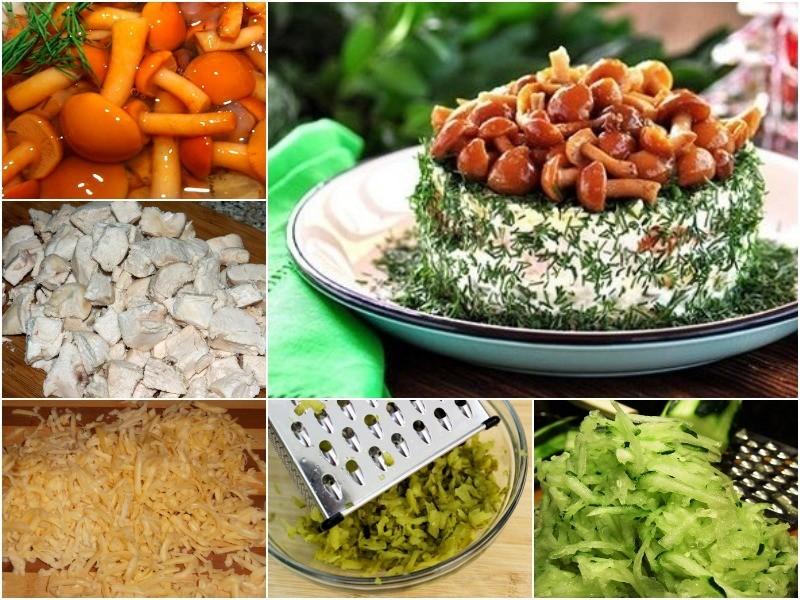 салат Лесная поляна с опятами 4 рецепта и фото