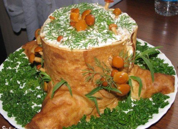 салат лесная поляна с корейской морковью и опятами, фото рецепт