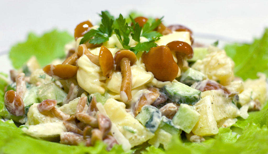 очень вкусный рецепт салата с жареными опятами и куриной грудкой, фото