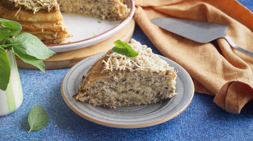 Описание: Блинный пирог с курицей и грибами, Заходник