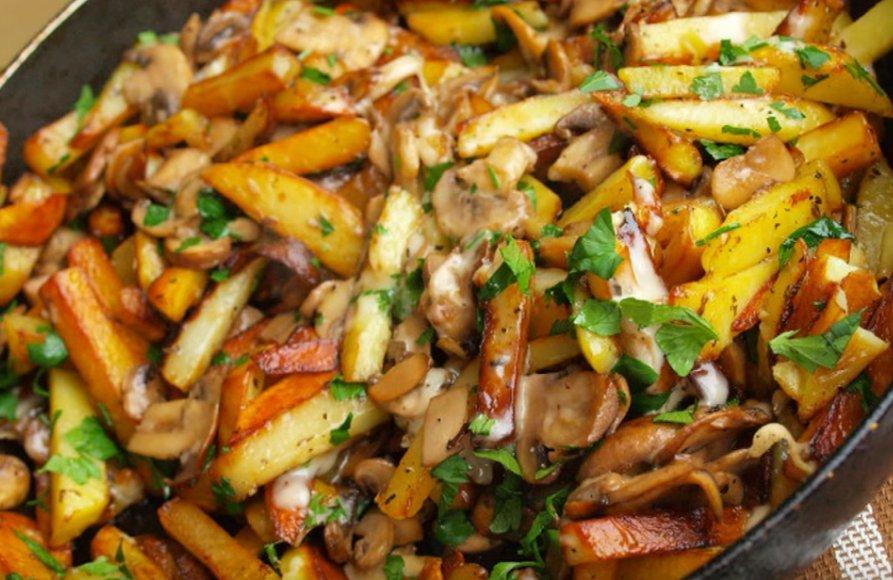 Жареная картошка с шампиньонами просто, быстро и вкусно