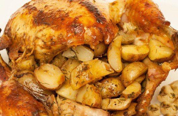 Курица фаршированная грибами